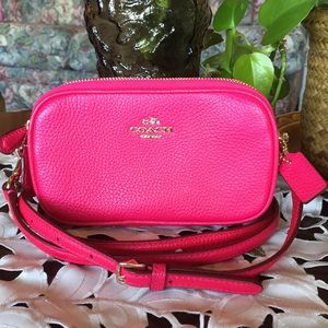 Coach Pink Pebble Leather Double zip Bag (FIRM)